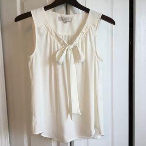 Loft Sleeveless white top with tie S